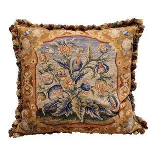 Vintage Chelsea Textiles English Large Floral Needlepoint Pillow For Sale