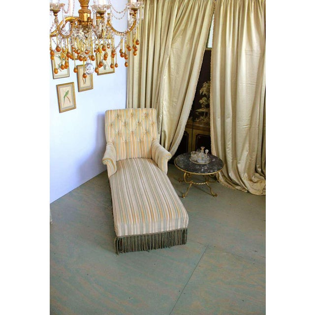French 19th C. Napoleon III Chaise Lounge in Striped Fabric - Image 10 of 11