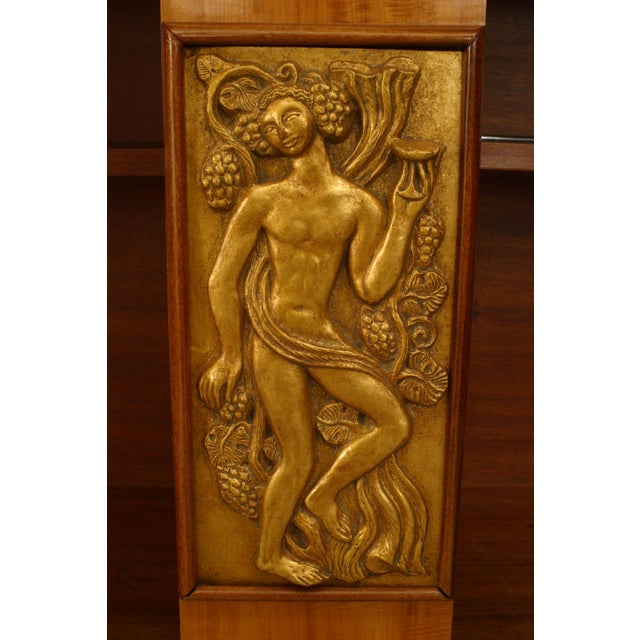 French Art Deco Satinwood And Mahogany With Gilt Trim Door Commode For Sale - Image 4 of 7