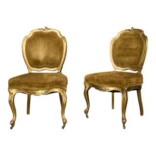 Pair of Rococo Revival Giltwood Side Chairs For Sale
