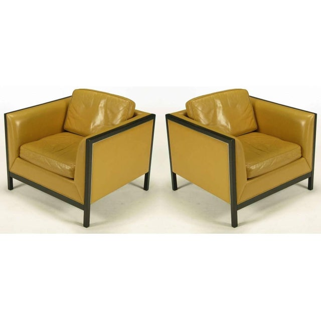 Pair of Stow Davis Leather, Ebonized Wood and Aluminium Even Armchairs For Sale - Image 10 of 10