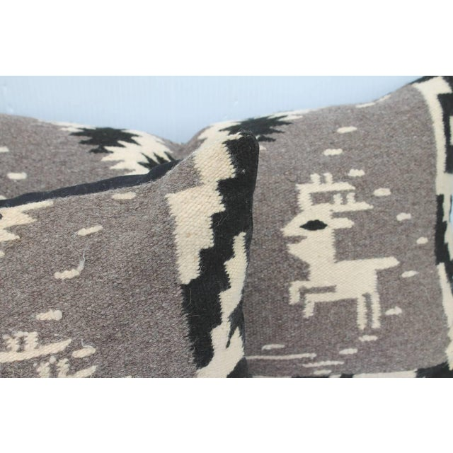 Navajo Navajo Indian Weaving Bolster Pillows with Deer For Sale - Image 3 of 4