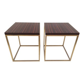 Modern Todd Hase Duval Side Tables in Macassar Ebony Marquetry - a Pair For Sale
