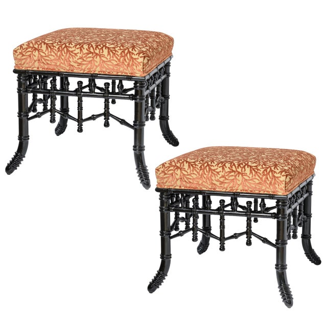 Chinoiserie Black Faux Bamboo Wood Ottomans With Coral Velvet Motif, A-Pair For Sale - Image 9 of 9