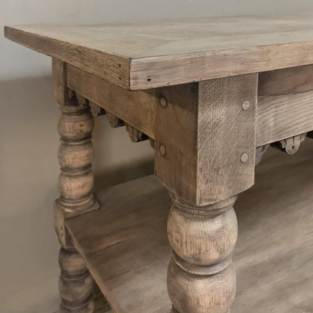 Gray Early 19th Century Rustic Renaissance Stripped Oak Counter For Sale - Image 8 of 13