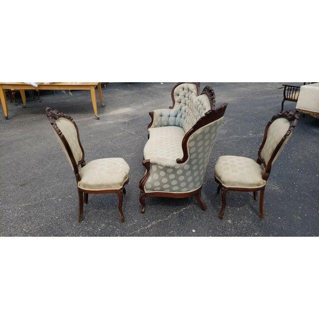 Antique Victorian Renaissance Hand Carved Parlor Set - 3 Piece Set Please Inquire About Custom Upholstery , Your Choice of...