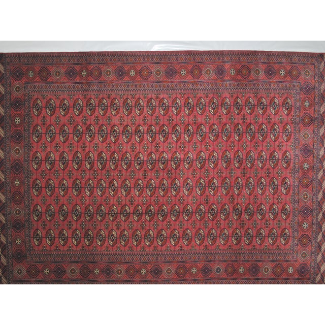 This masterpiece is a wool on wool pile genuine handwoven fine Persian Torkaman in mint condition. The rug was made in the...