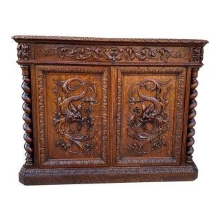 Antique French Renaissance Barley Twist Oak Corner Cabinet For Sale
