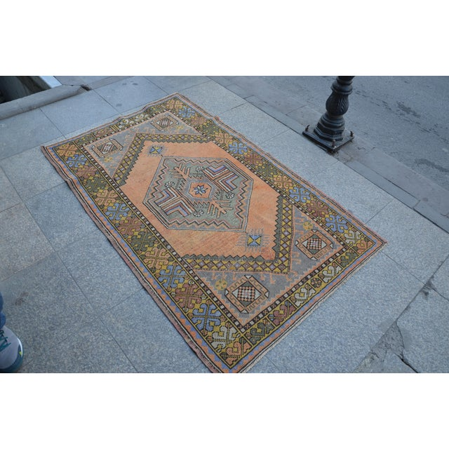 1960s Turkish Oushak Antique Wool Rug - 3′6″ × 5′6″ For Sale - Image 5 of 11