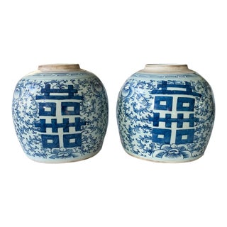 Pair, Vintage Blue and White Ginger Jars For Sale