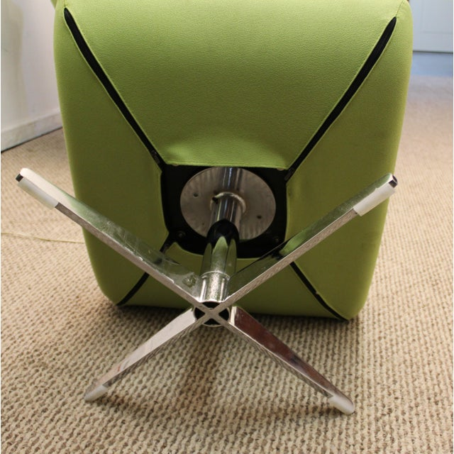 Mid-Century Lime Green Swivel Lounge Chair & Ottoman - Image 9 of 11