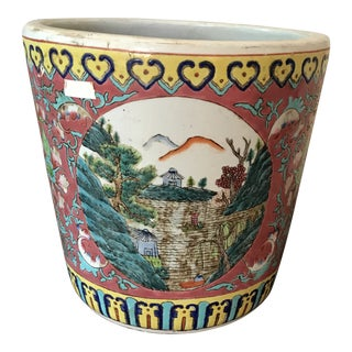 1950s Chinese Colorful Ceramic Cachepot For Sale