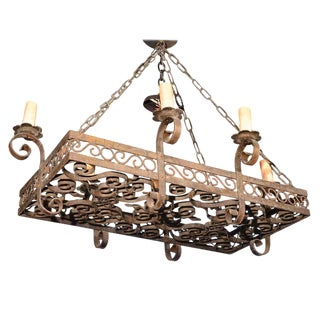 19th Century Wrought Iron Five-Light Chandelier For Sale