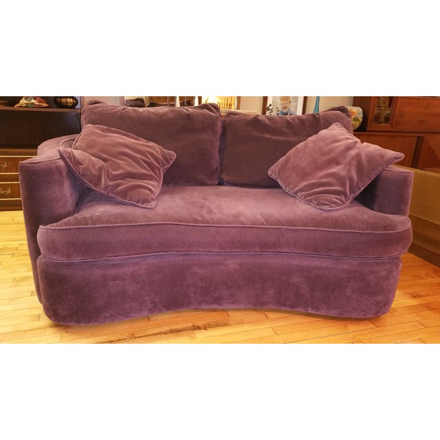 Here's an elegant plum velvet loveseat manufactured by Bernhardt USA in the 1980s to 90s. Its comfort matches its elegance...