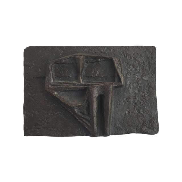 Vintage Abstract Brutalist Metal Wall Sculpture For Sale