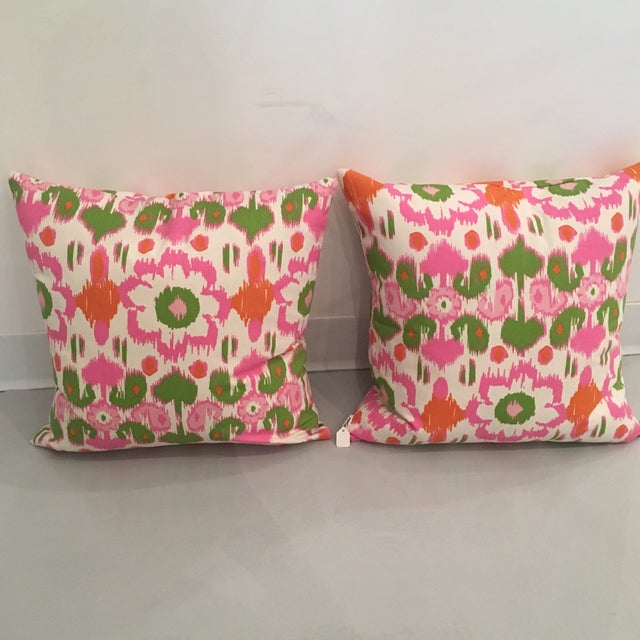 Pink, Orange & Green Ikat Pillows - A Pair For Sale - Image 4 of 6