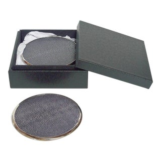 Black Shagreen Coasters by Fabio Ltd - Set of 6 For Sale