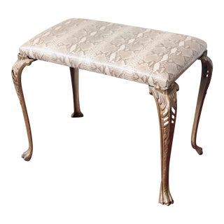 Faux Python Upholstered Ottoman / Footstool For Sale