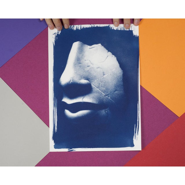 Art Deco Limited Edition, Ancient Egyptian Nose and Mouth Sculpture, Cyanotype Print on Watercolor Paper For Sale - Image 3 of 4