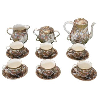19th Century Satsuma Japanese Hand Painted Porcelain Tea or Coffee Set 15 Pieces For Sale