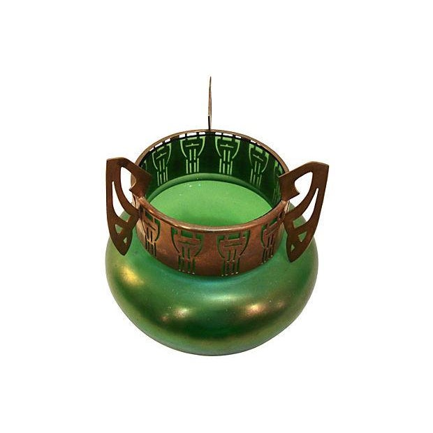 Art Nouveau Loetz Green Iridescent Vase Chairish