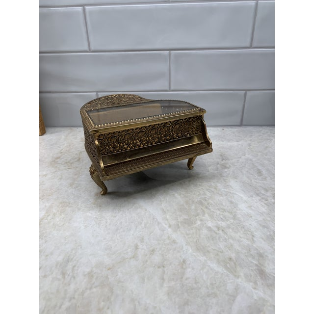 Vintage Brass Filigree Piano-Shaped Jewelry Music Box For Sale - Image 11 of 11