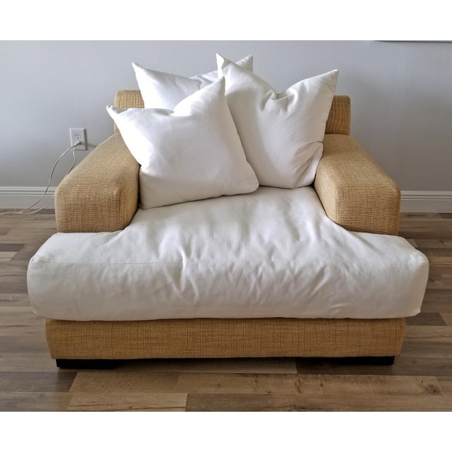 Resort Style Modern Oversized White & Sand Sofa and Chair - Set of 2 For Sale - Image 10 of 13