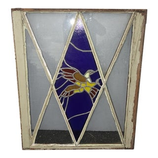 Antique Blue Leaded Stained Glass W an Eagle Window Wall Decor For Sale