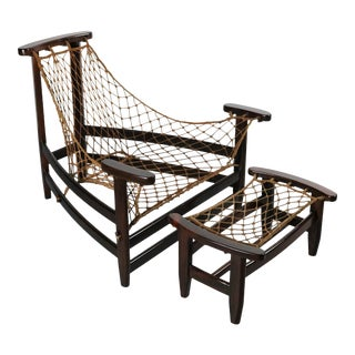 1960s Jean Gillon Lounge Chair & Ottoman in Brazilian Rosewood France, 2 Pieces For Sale