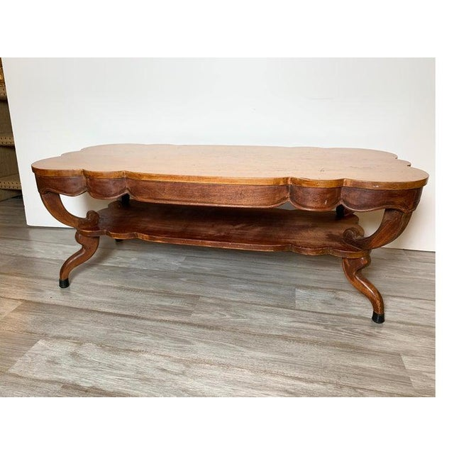 1940s Rustic Distressed Finish Inlaid Mahogany Coffee Table For Sale In Philadelphia - Image 6 of 13