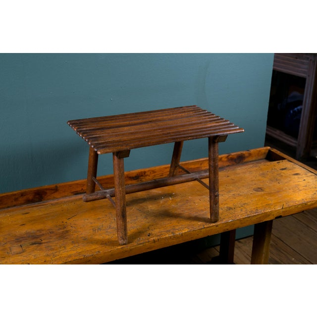 Petite Hand-Made Rustic Wood Footstool from Belgium, circa 1920 For Sale - Image 5 of 5