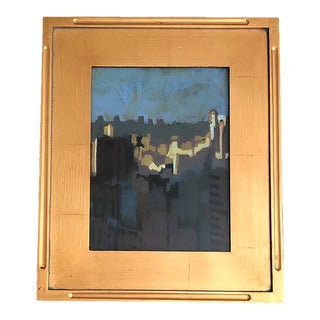Abstact Blue Landscape Oil Painting in Gilded Gold Frame For Sale