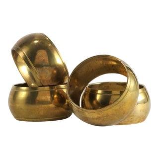 Boho Hollywood Regency Brass Napkin Rings - Set of 4 For Sale