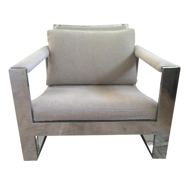 Vintage Belgian Linen & Chrome Chair - Image 1 of 5