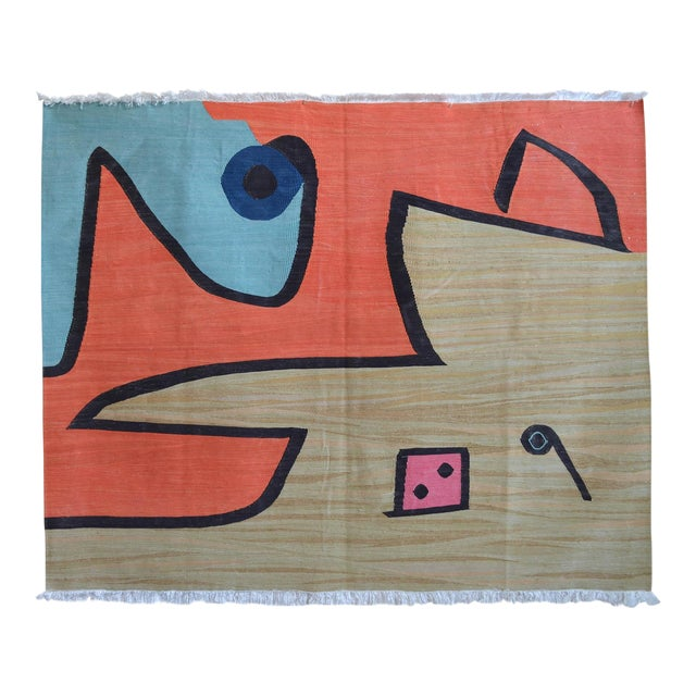 Paul Klee - Silence of the Angel - Inspired Silk Hand Woven Area - Wall Rug 4′6″ × 5′7″ For Sale