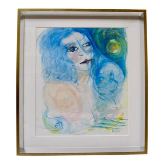 Contemporary Portrait of Woman Goddess Chagall Style Signed Painting For Sale