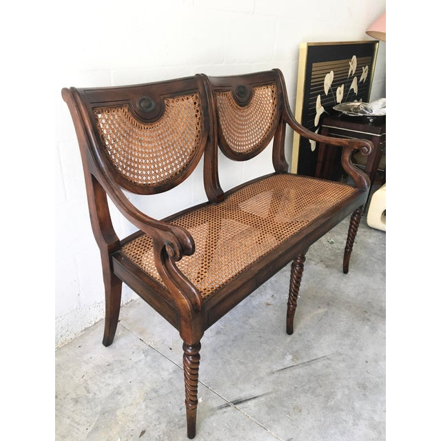 American Theodore Alexander Acacia and Cane Bench For Sale - Image 3 of 13