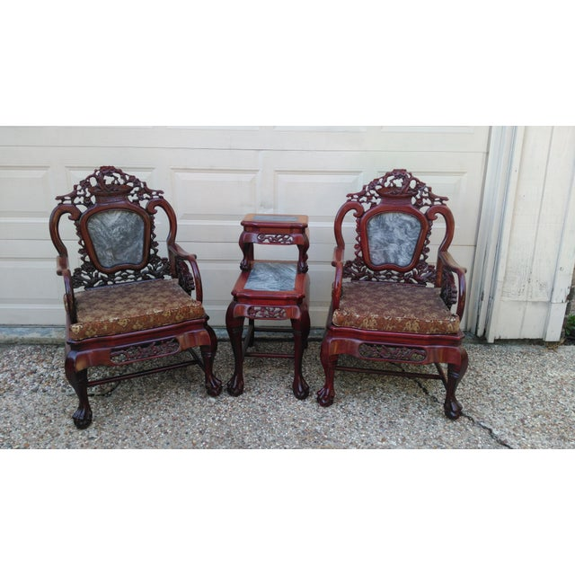 Chinese Carved Solid Rosewood Marble Back Armchairs - a Pair For Sale - Image 9 of 9