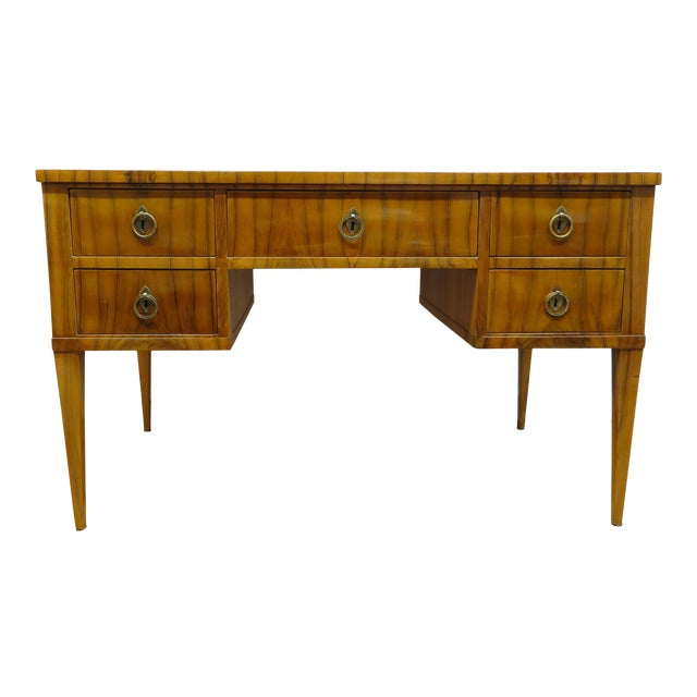 Midcentury Tiger Wood Desk For Sale