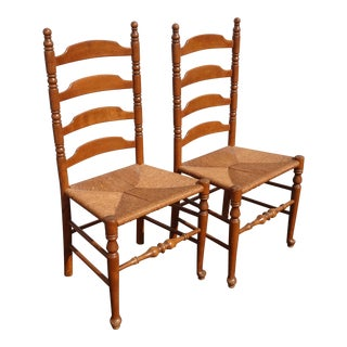 Pair Vintage Brown French Country Ladderback Rush Accent Chairs For Sale