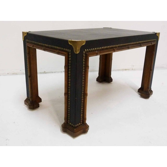 Campaign Drexel Faux Bamboo Leather Top Side Table For Sale - Image 3 of 9