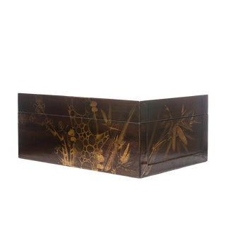 Lawrence & Scott Hand-Painted Wisteria Scene Brown Water Buffalo Hide Leather Box For Sale