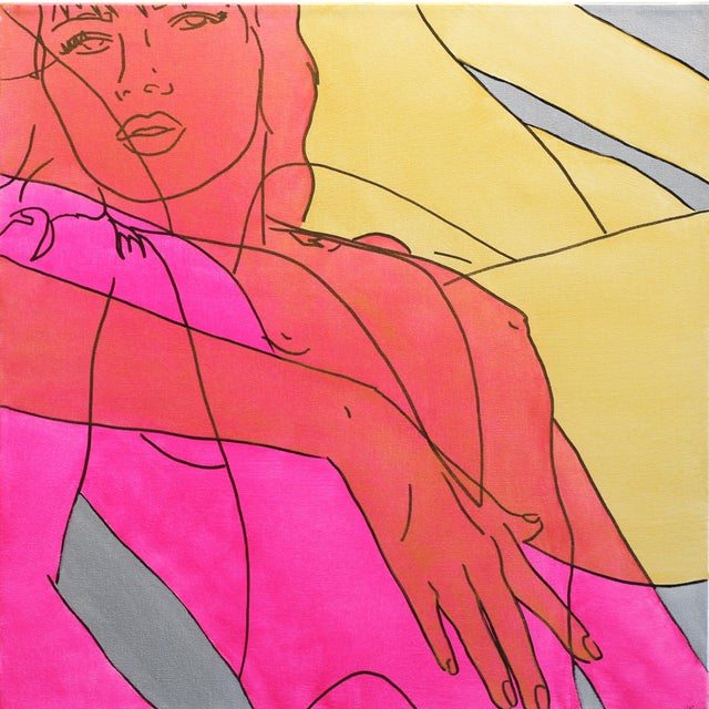 """Hilary Bond """"Pink Gold Silver"""" Original Painting For Sale"""