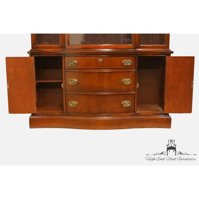 20th Century Traditional Bassett Furniture Old Shirley Collection Bow Front China Display Cabinet For Sale In Kansas City - Image 6 of 13