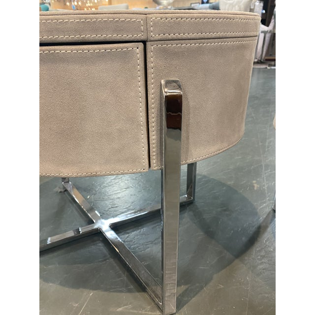 Beige Pair of Custom Made Suede End Tables With Stainless Steel Frame For Sale - Image 8 of 10