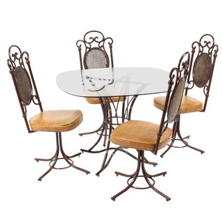 1960s Mid-Century Modern Kessler Aluminum & Glass Dining Set - 5 Pieces For Sale