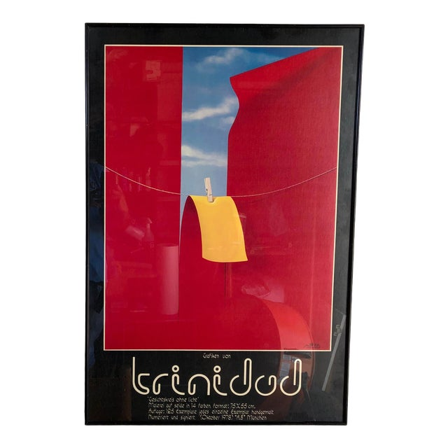 Vintage 1970s Framed German Art Exhibit Poster For Sale