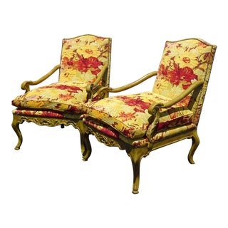 Pair Vintage French Country Minton Spidell Red & Yellow Lounge Chairs W Down Cushions For Sale