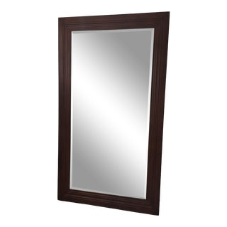 Late 20th Century Vintage Bevelled Wood Wall/Floor Mirror For Sale