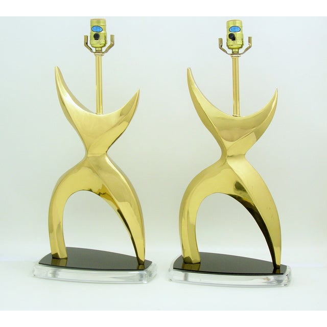 Modern Mid-Century Modern Brass Black Lucite Abstract Figural Table Lamps Inspired by Phillipe Jean MCM - a Pair Millennial For Sale - Image 3 of 11